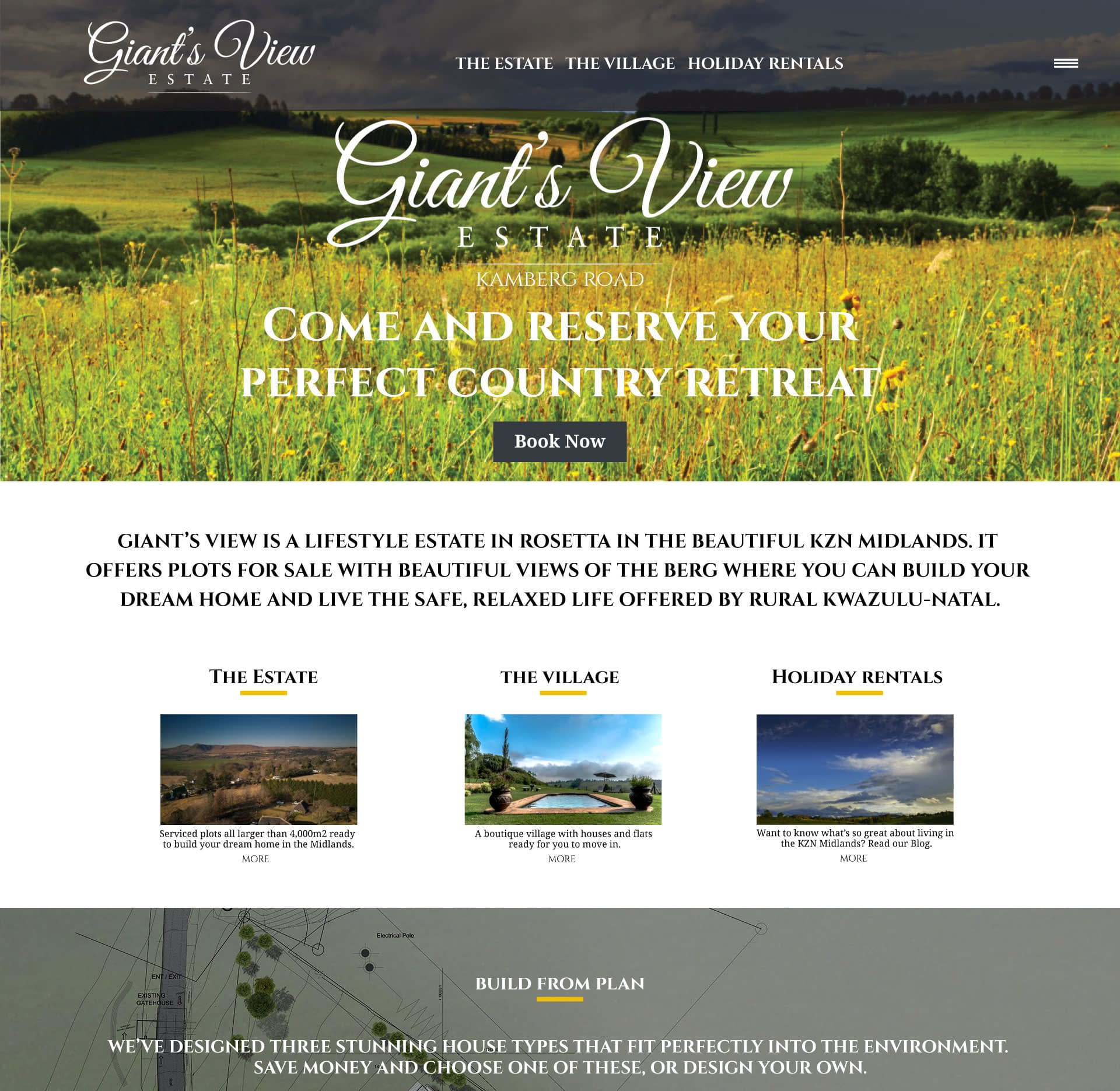 Giants View Estate website layout