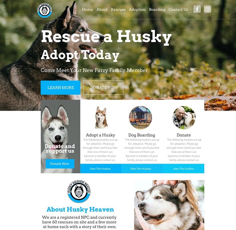 Husky Heaven Website Design